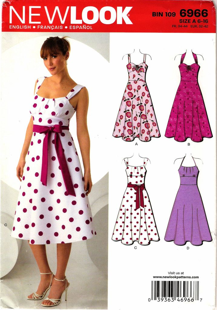 New Look 6966 Misses' Dress and Belt Sewing Pattern