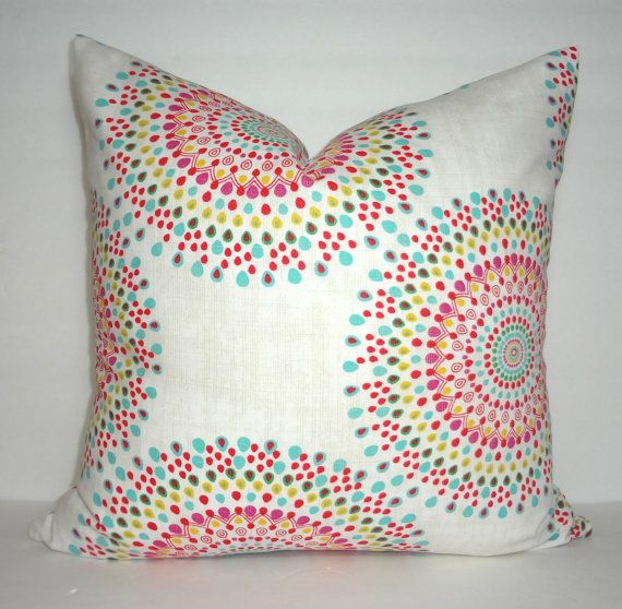 Pink Yellow Aqua Blue Green Red Medallion Pillow Cover This Fabric