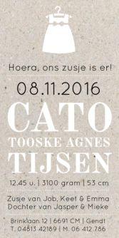 Geboortekaartje jurkje karton | birth announcement with little dress| typografie en letterpress stijl. www.meisenmanneke.nl