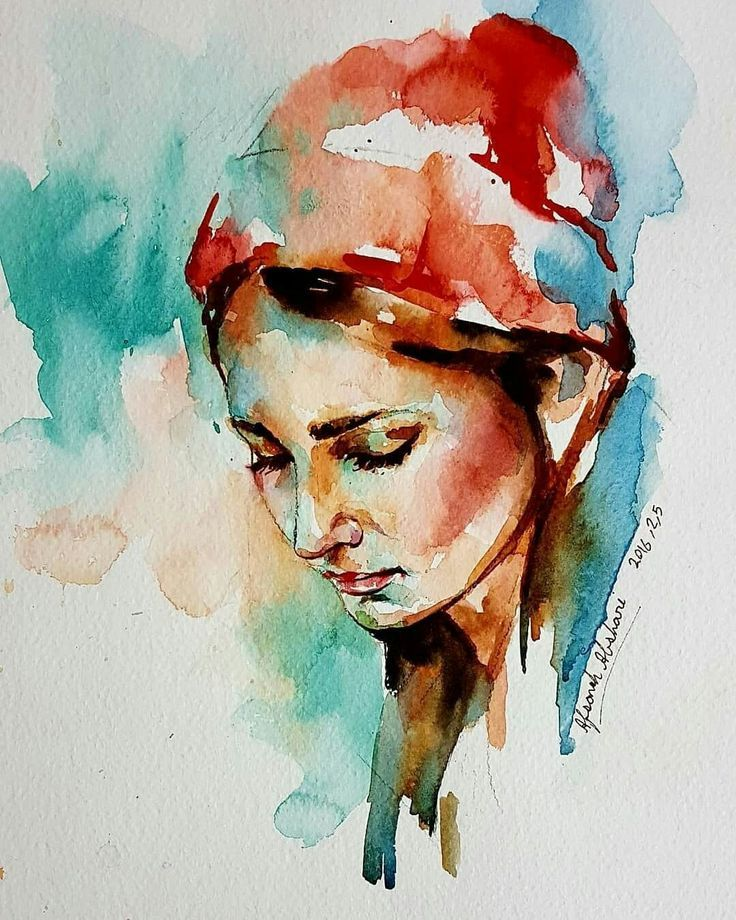 Afsaneh Abshary Watercolor Portrait Painting Watercolor