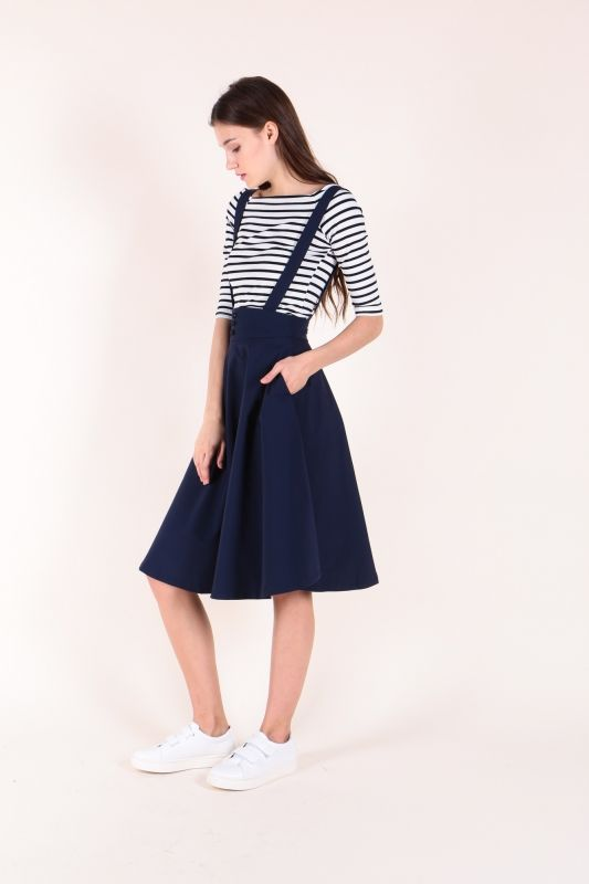 Striped Top with Suspender Skirt (Navy)  $50