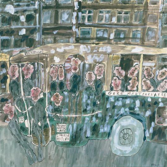 Jean Dubuffet (French, 1901-1985), Autobus Gare Montparnasse [Bus at Montparnasse station], 1961. Gouache on paper, 67 x 67 cm.