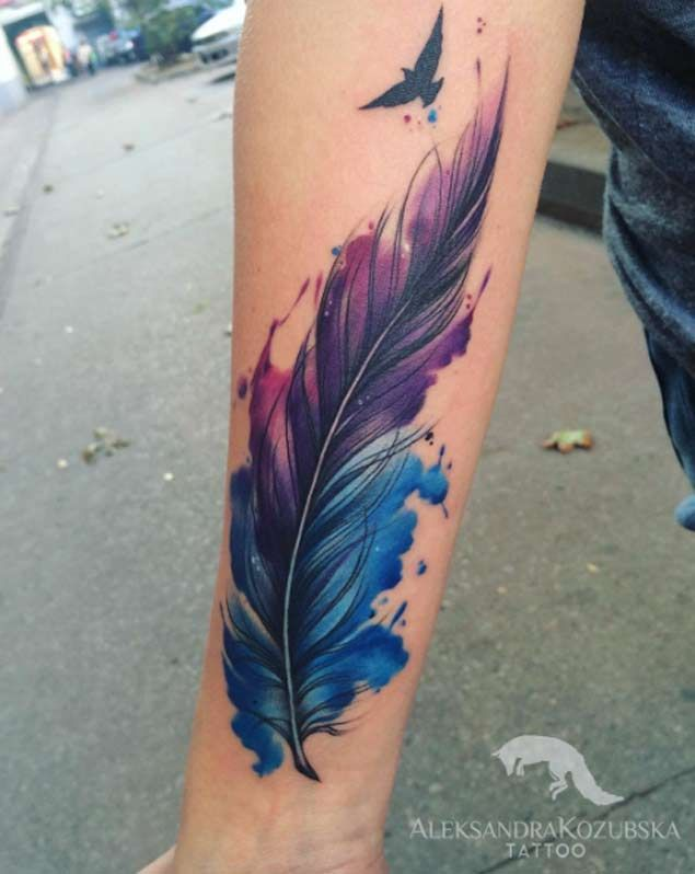Watercolor Feather Tattoo by Aleksandra Kozubska. I almost see the colors as evolving and finally the bird has the courage to fly and take flight with the risk.