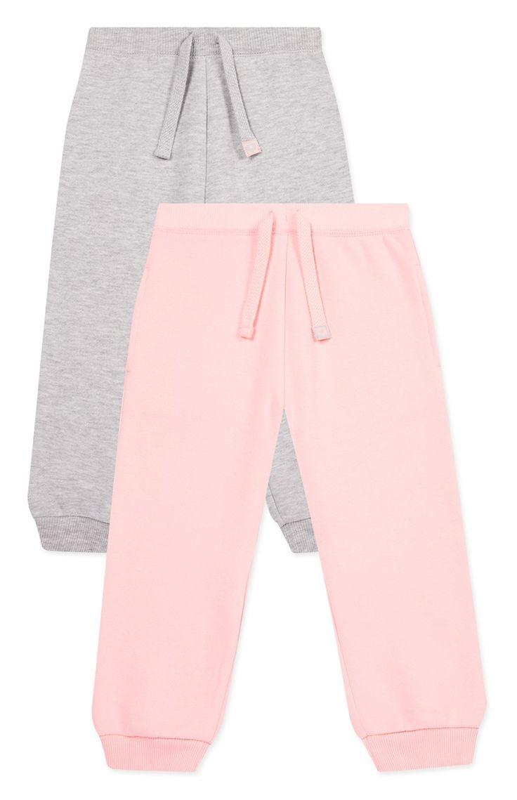 Primark - Pack de 2 calças de fato de treino em cinzento e cor de rosa