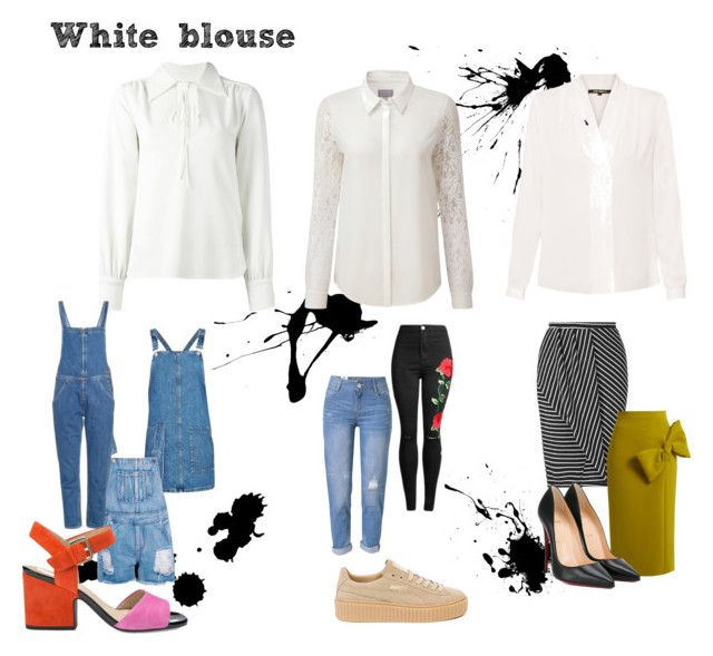 White blouse by larissavanderzijdenxo on Polyvore featuring mode, Topshop, See by Chloé, Pure Collection, Kobi Halperin, Miss Selfridge, Roksanda, M.i.h Jeans, WithChic and Boohoo