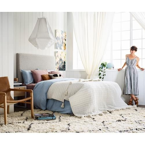 Shop this dreamy bedroom which mixes Scandi and boho styles.