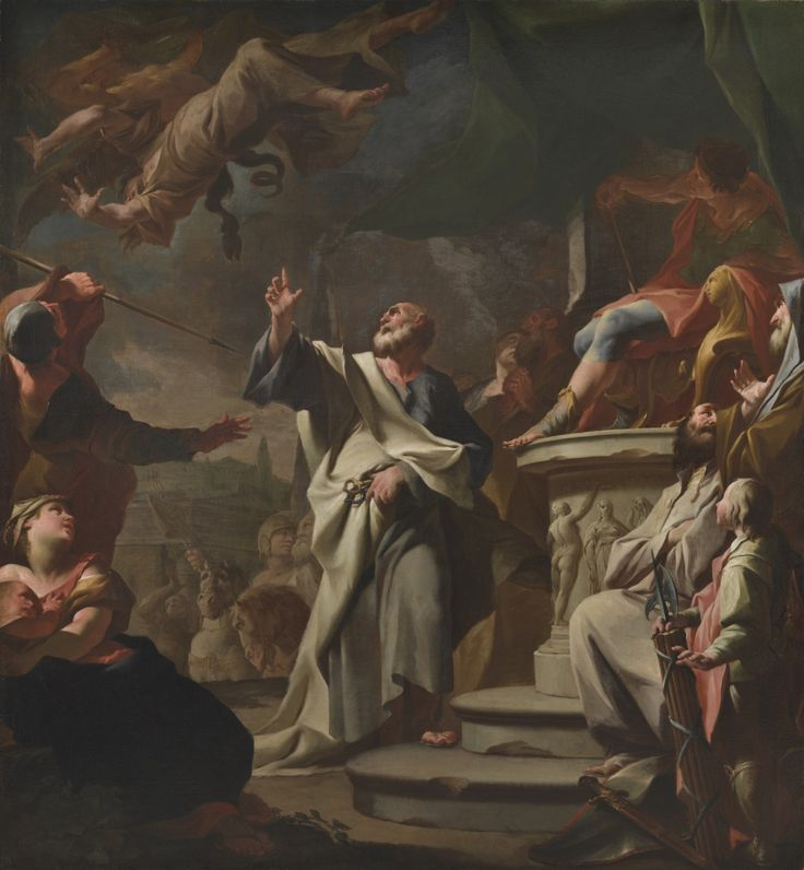 Paul Troger - sv. Petr při souboji se sv. Šimonem a Mágem, před 1743