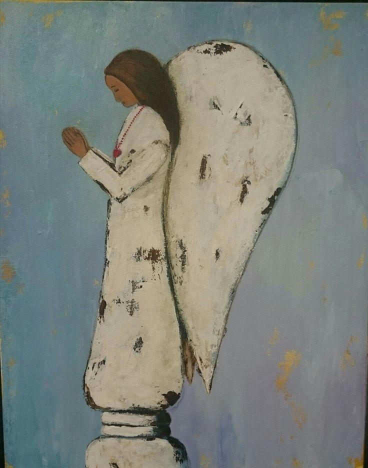 Praying Angel - Painting by Herma Kitching