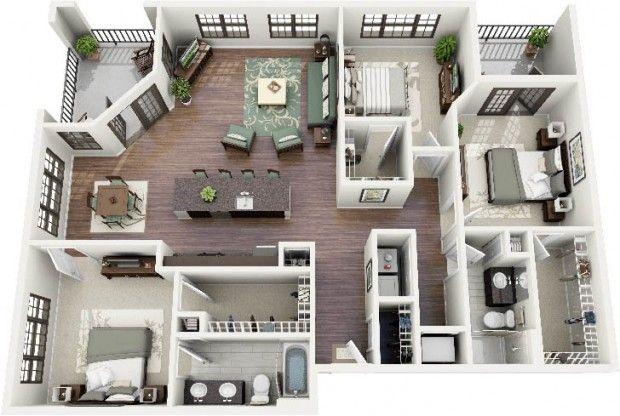 Beautiful 2 Bedroom Apartment Floor Plans 3d N 3 D Pinterest Best Third And Bedrooms Ideas Design