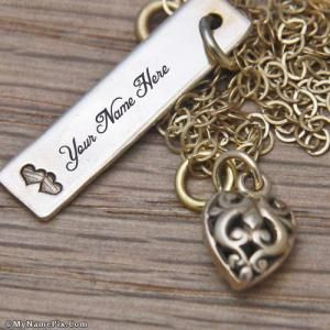 Write name on Bronze Tag Necklace