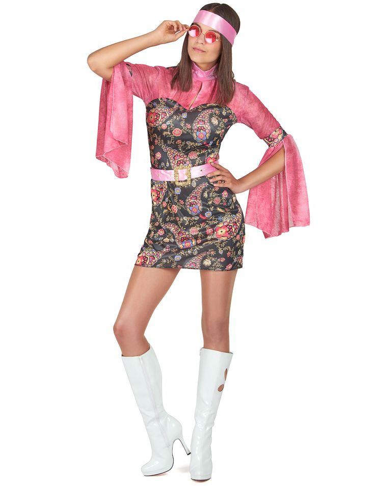Déguisement disco femme : Ce déguisement de disco pour femme est composé d'une robe courte, d'une ceinture et d'un bandeau pour les cheveux (lunettes et bottes non incluses).La robe...