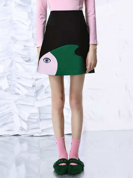 Shop Mini Skirts - Black Casual A-line Color-block Mini Skirt online. Discover unique designers fashion at StyleWe.com.