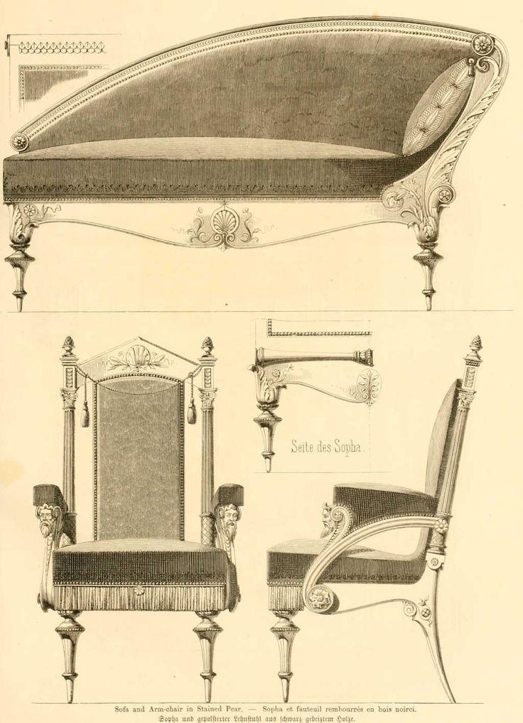 img/dessins meubles mobilier/sofa et fauteuil rembourres en bois noirci.jpg