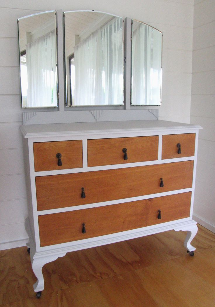 Upcycled Vintage Art Deco 5 Drawer Oak Dressing Table With Triple Mirrors, Hand Painted in Soft Grey
