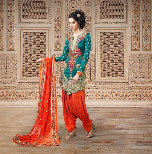 Tranquil Geenish Blue Salwar Kameez | StylishKart.com