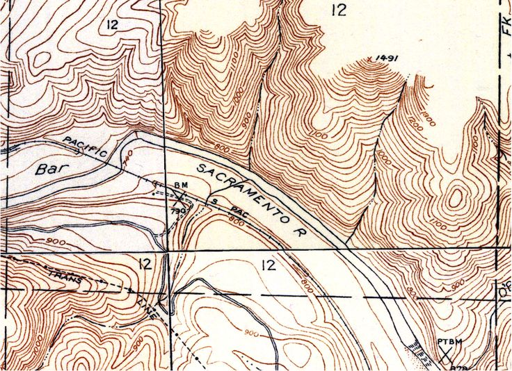 Original scanned topographic map with contour lines in brown and other lines in black/gray.