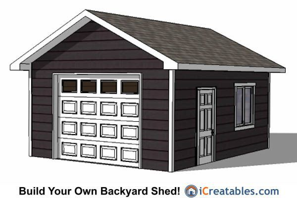 Free garage plans 16 x 24 woodworking projects plans for 16x20 garage plans