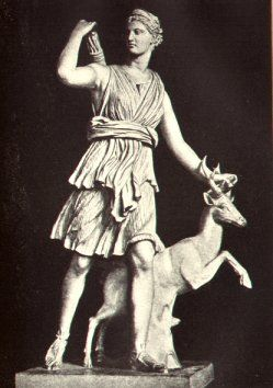Artemis, the sister of Apollo and daughter of Zeus and Leto, is the virgin goddess of the hunt who also assists in childbirth. In the Iliad Book 21, she appears like a tearful child who goes crying to her father when her stepmother Hera boxes her ears, but among mortals she is more self-assured. Artemis is an archer with golden arrows, who also dances with the Charites.