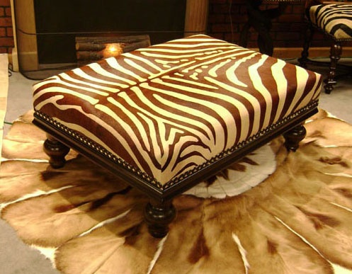 Brown Stenciled Zebra Cowhide Ottoman W Crown Moulding