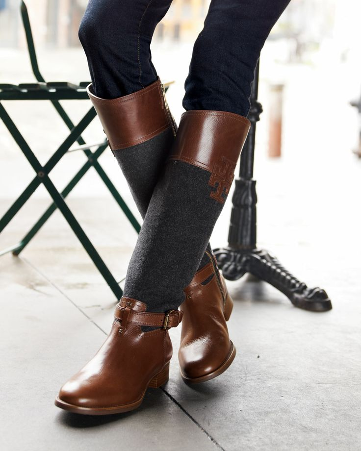 Tory Burch Blaire Leather/Flannel Riding Boot