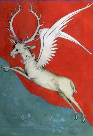 demonagerie:    Paris, BnF, Arsenal 2682 f. 34. Philippe de Mézières, Le songe du vieil pélerin. A flying stag, emblem of Charles VI.