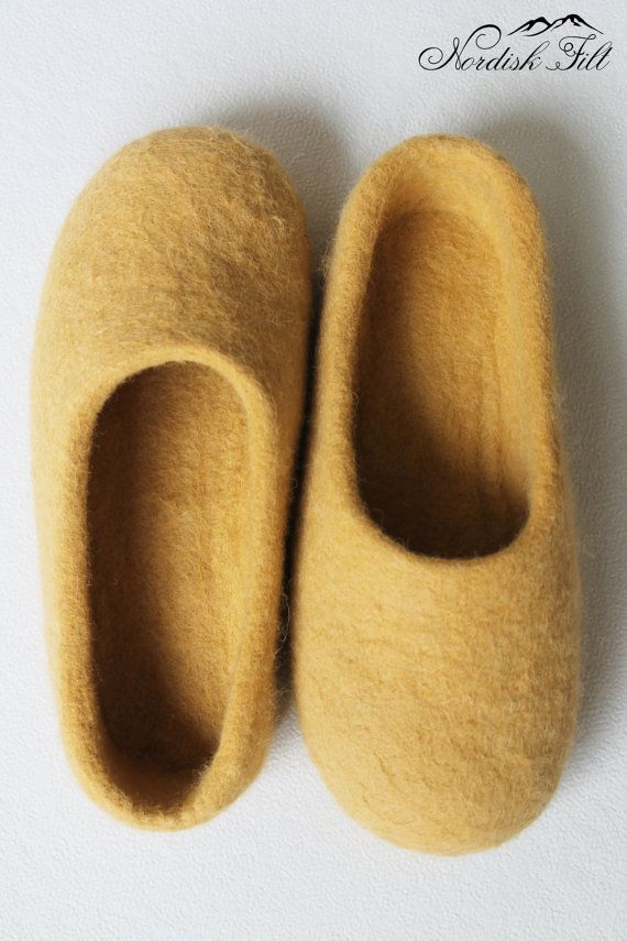 Felted yellow wool slippers-Home shoes