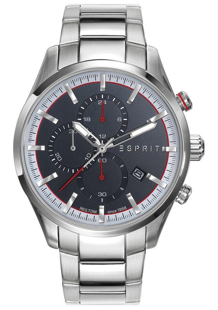 Esprit Herenhorloge 'Silver Grey' ES108391008. Stoer horloge met een zilverkleurige stalen horlogeband. De zilverkleurige, stalen kast heeft een donkergrijze wijzerplaat met witte en rode accenten, datumaanduiding heeft chronofuncties. De stoere band met matte en glanzende schakels sluit door middel van een vouwsluiting.