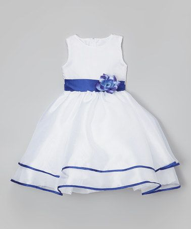 This White & Blue Sash Flower Dress - Infant, Toddler & Girls is perfect! #zulilyfinds