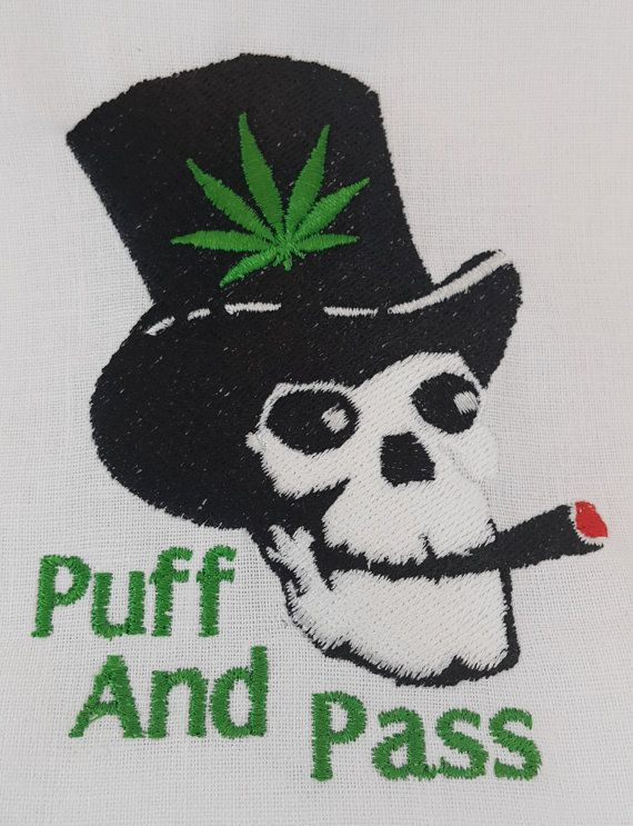Digital Embroidery Design  Image: Puff and Pass - Smoking Skull with a tophat and weed leaf  Included in the digital file:  Size (width) x (height): Large = 3 27/64 inch x 4 13/32 inch (87.1mm x 111.8mm) Medium = 2 3/4 inch x 3 17/32 inch (69.8mm x 89.6mm) Small = 1 25/32 x 2 9/32 (45.3 mm x 58 mm)  A PDF with the steps is also available for download  Colors used in the design: 4 colors  Stitches: Large - 14336 Medium - 10510 Small - 5915  Available formats: DST EMP EXP HUS PCS PES PEC SEW…