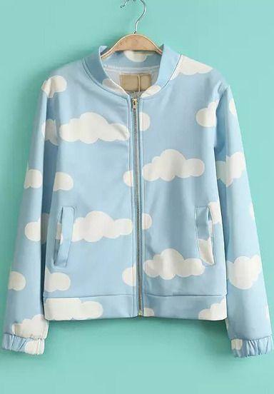 Cazadora nubes manga larga-azul