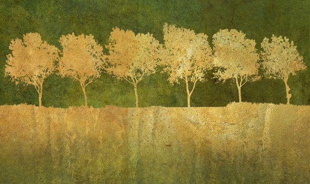Golden Tree Silhouettes -             Fototapeter & Tapeter -           Photowall
