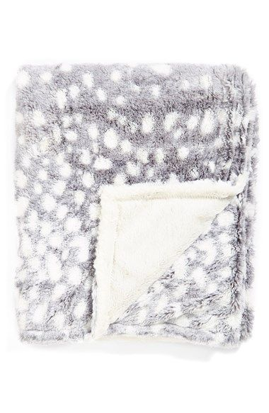 grey and white throw // animal print blanket // reversible blanket
