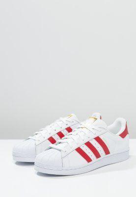 adidas Originals SUPERSTAR FOUNDATION - Matalavartiset tennarit - white/scarlet - Zalando.fi