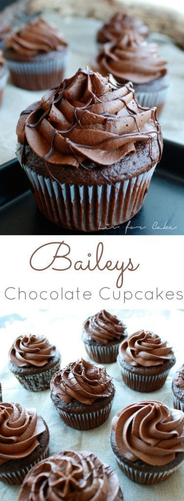 Delicious chocolate cupcakes with a whipped chocolate Baileys buttercream. | http://livforcake.com