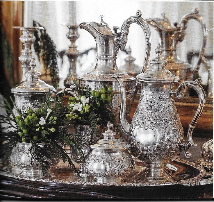 Gorgeous coffee and tea silver service seen in Victoria Classics Holiday Bliss 2014 magazine.