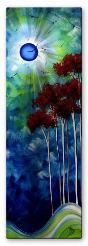 """Megan Duncanson 'Tropical Night' Tree Moon Contemporary Wall Sculpture, Abstract Metal Wall Art, Modern Home Décor by Ash Carl. $53.00. Hand Sanded Design. Size: 23.5"""" T x 8"""" W Inches. Corrosion Resistant Finish. Painted Steel. High Quality Welded Construction. Add a touch of color and surrealism to any room with this 'Tropical Night' metal wall sculpture by Megan Duncanson. These metal wall hangings consist of torch-cut 18-gauge steel layers, stud construction, and one..."""
