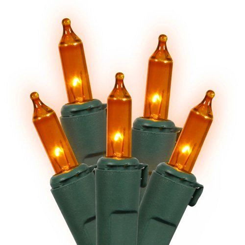 Set of 50 Orange Mini Christmas Lights - Green Wire by VCO. $9.99. Set of 50 Mini Christmas LightsItem #W4G0512Features:Color: orange bulbs / green wire Number of bulbs on string: 50Bulb size: miniSpacing between each bulb: 4 inches Lighted length: 15.7 feet Total length: 16.8 feet8.5 inch lead cord4 inch tail cordAdditional product features:These lights are made to commercial specificationsSuper bright bulbsLights are equipped with Lamp Lock feature, which makes th...
