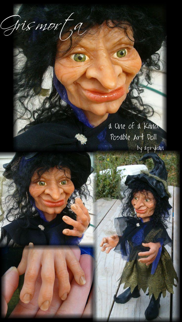 Grismorta -- An Aprylian Original -- Learn to make a fun Halloween art doll at MakingFairies.com and SculptUniversity.com