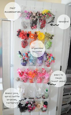 Hair Accessory Storage - now if Lady Bug would quit playing dress up with all of the bows at once... then maybe we could do this... lol