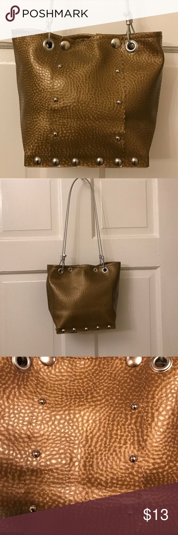 """Hardware by Renee Tote handbag made from hardware and recycled materials. Strong, sexy, smart bag is the company motto. Has signature steel but. Double snap closure. In mint condition. 6.5"""" x 7.5"""" x 3.5"""" 10"""" strap drop hardwear by renee Bags Totes"""