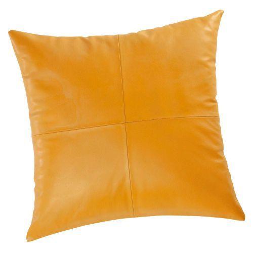 Cuscino giallo senape in cuoio 45 x 45 cm