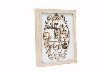All You Need Is Love 3D Wood Cut Picture  http://www.notonthehighstreet.com/quietlycreative/product/framed-all-you-need-is-love-woodcut