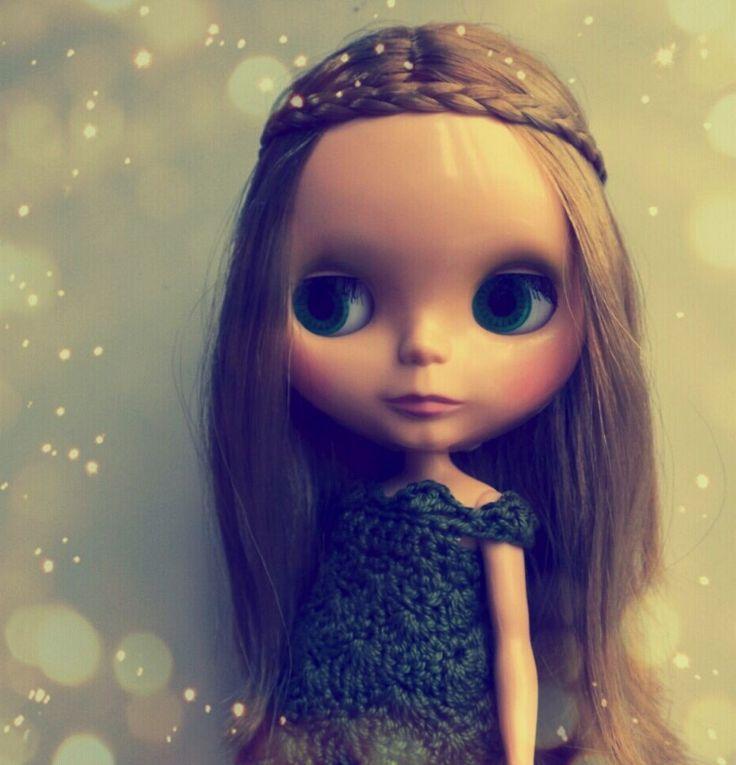 """my blythe """"bohemian beats again """" wear a crochet green dress by me"""