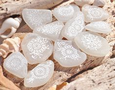 Hand Painted Mehndi Style Patterned White by BeachBountySeaGlass