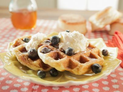 Biscuit Waffles with Lemon Cream, Lemon Syrup and Blueberries Recipe : Trisha Yearwood : Food Network