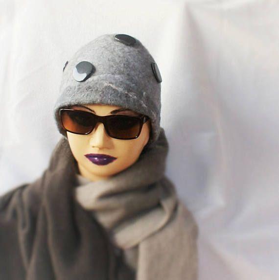 Light Grey Hat with Dark Grey Decor Wool Felted Hat Norwegian