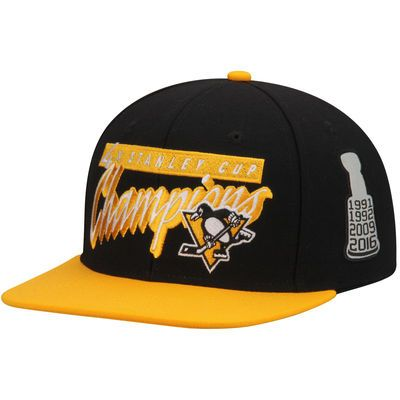 Pittsburgh Penguins Reebok 4-Time Stanley Cup Champions Adjustable Snapback Hat - Black/Gold