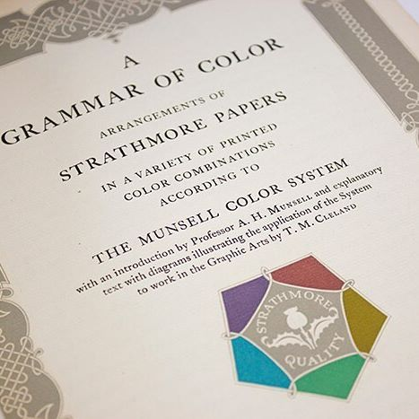 In 1921, Strathmore published A Grammar of Color, a tour-de-force of design and printing. Three years in the making, the book contained 90 different color combinations on sixteen different Strathmore colors. It helped define Strathmore's role as a go-to resource for inspiration and education. . . . . #TBT #StrathmoreArchive #AGrammarOfColor #ColoredPaper #TexturedPaper #Paper #ColorCombination #Inspiration #Education #Design #Printing