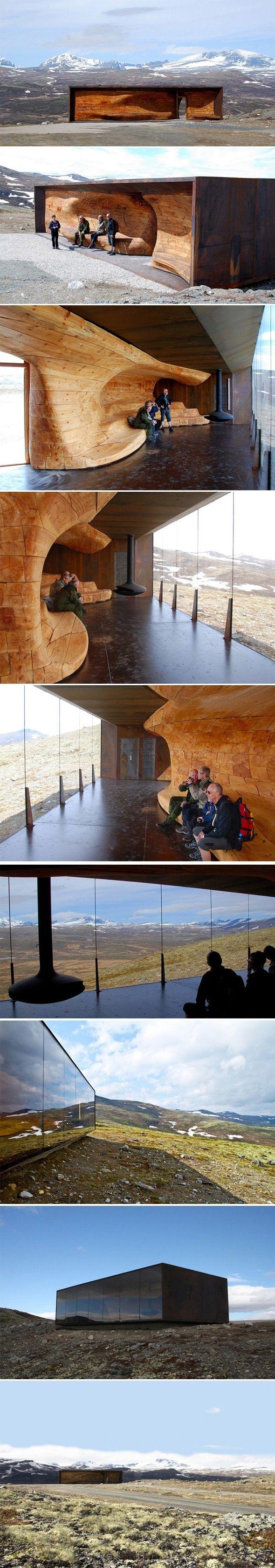 Pavillon d'observation dans un parc national de Norvège Je suis restée scotchée devant cette construction... Simplement sublime, on doit ce pavillon au stu