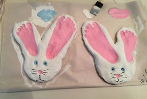 Rabbit made of salt dough for Easter tinker with footprints ,  #dough #easter #f…